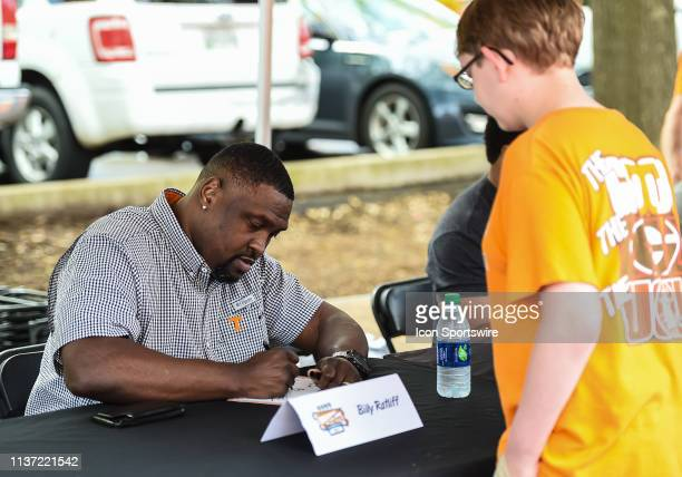 Former Tennessee Volunteers player Billy Ratliff signs autographs before the Orange and White spring game on April 13 at Neyland Stadium in Knoxville...