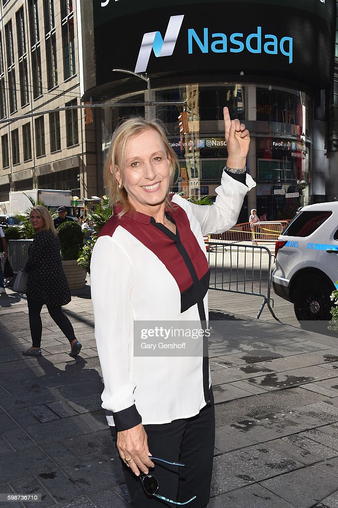 Former tennis champion and on-air analyst Martina Navratilova poses after ringing the opening bell at NASDAQ MarketSite on September 2, 2016 in New York City.