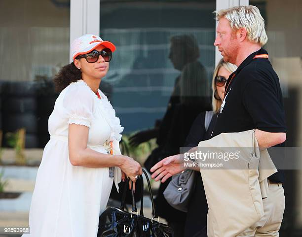Former tennis champion Boris Becker and his wife Lilly Kerssenberg are seen before the Abu Dhabi Formula One Grand Prix at the Yas Marina Circuit on...