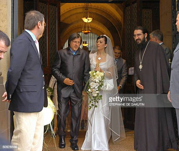 Former tennis champion Romanian Ilie Nastase and his wife Amalia Teodosescu leave StStephane orthodox church after their religious wedding 05 June...