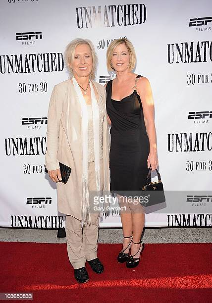 "Former tennis champions Martina Navratilova and Chris Evert attend the premiere of ""Unmatched"" at Tribeca Cinemas on August 26, 2010 in New York City."