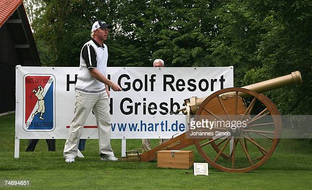 Former tennis legend Boris Becker opens the Hartl Golf Resort by firing a cannon shot on June 18 in Penning Germany