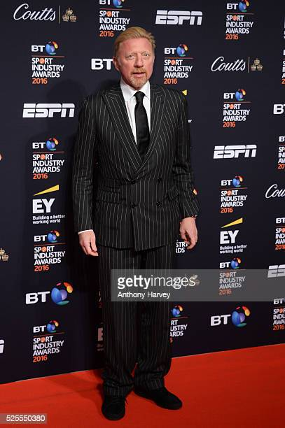 Former tennis playe Boris Becker poses on the red carpet at the BT Sport Industry Awards 2016 at Battersea Evolution on April 28 2016 in London...