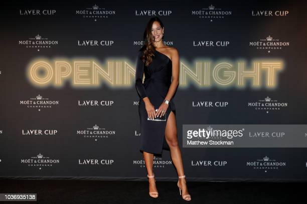 Former tennis player Ana Ivanovic of Serbia arrives on the Black Carpet during the Laver Cup Gala at the Navy Pier Ballroom on September 20 2018 in...