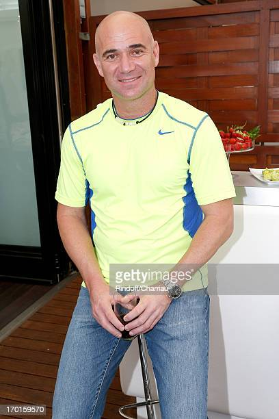 Former tennis player and ambassador of Longines Andre Agassi sighting at Roland Garros Tennis French Open 2013 Day 14 on June 8 2013 in Paris France