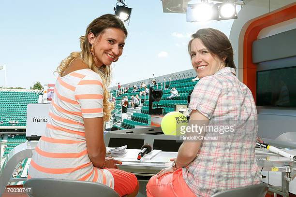 Former tennis player and journalist Tatiana Golovin and former tennis player Justine Henin of Belgium on France 2 french TV channel studio at Roland...