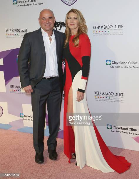 Former tennis player Andre Agassi and his wife former tennis player Steffi Graf attend Keep Memory Alive's 21st annual Power of Love Gala benefit for...