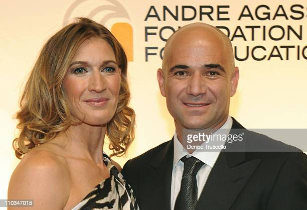 Former tennis player Andre Agassi and wife former tennis player Stefanie Graf arrive at the 14th annual Andre Agassi Foundation for Education's Grand...