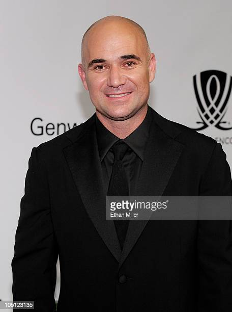 Former tennis player Andre Agassi arrives at the Andre Agassi Foundation for Education's 15th Grand Slam for Children benefit concert at the Wynn Las...
