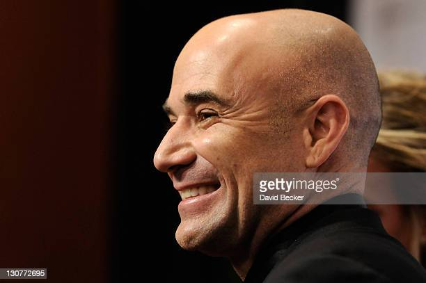 Former tennis player Andre Agassi arrives at the Andre Agassi Foundation for Education's 16th Grand Slam for Children benefit concert at the Wynn Las...