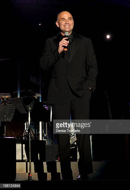 Former tennis player Andre Agassi speaks onstage during the Andre Agassi Foundation for Education's 15th Grand Slam for Children benefit concert at...