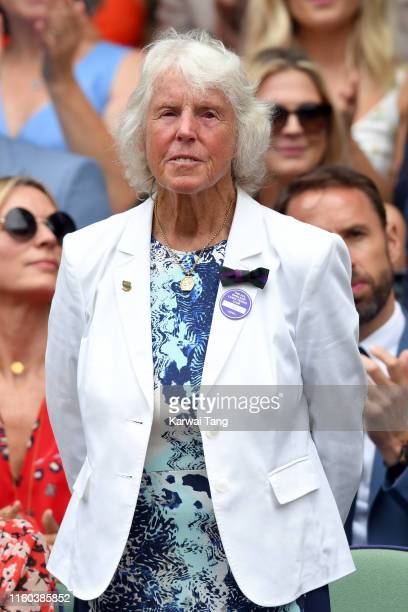 Former tennis player Ann Jones attends day six of the Wimbledon Tennis Championships at All England Lawn Tennis and Croquet Club on July 06 2019 in...