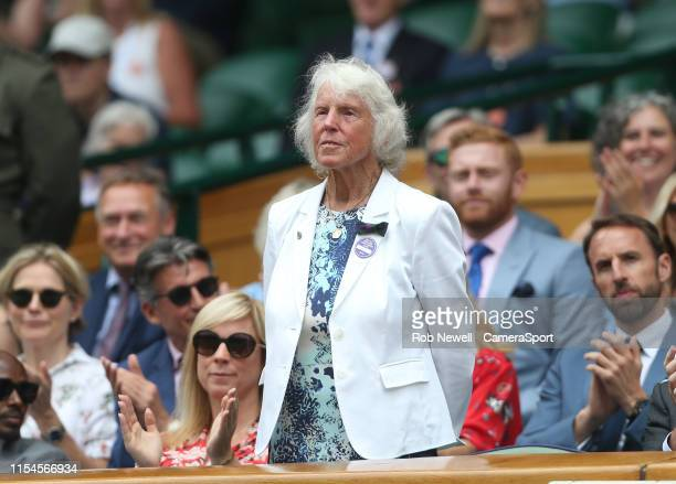 Former tennis player Ann Jones is introduced to the Centre Court crowd during Day 6 of The Championships Wimbledon 2019 at All England Lawn Tennis...