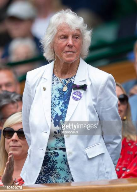 Former tennis player Ann Jones is introduced to the Centre Court crowd during Day Six of The Championships Wimbledon 2019 at All England Lawn Tennis...