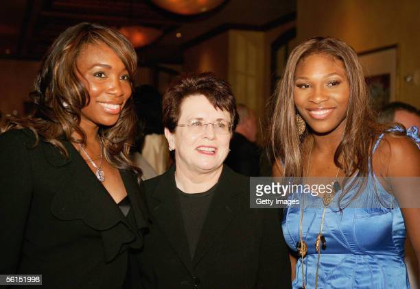 Former tennis player Billie Jean King poses with Serena Williams and sister Venus Williams at the Sony Ericsson WTA Tour Championships party November...