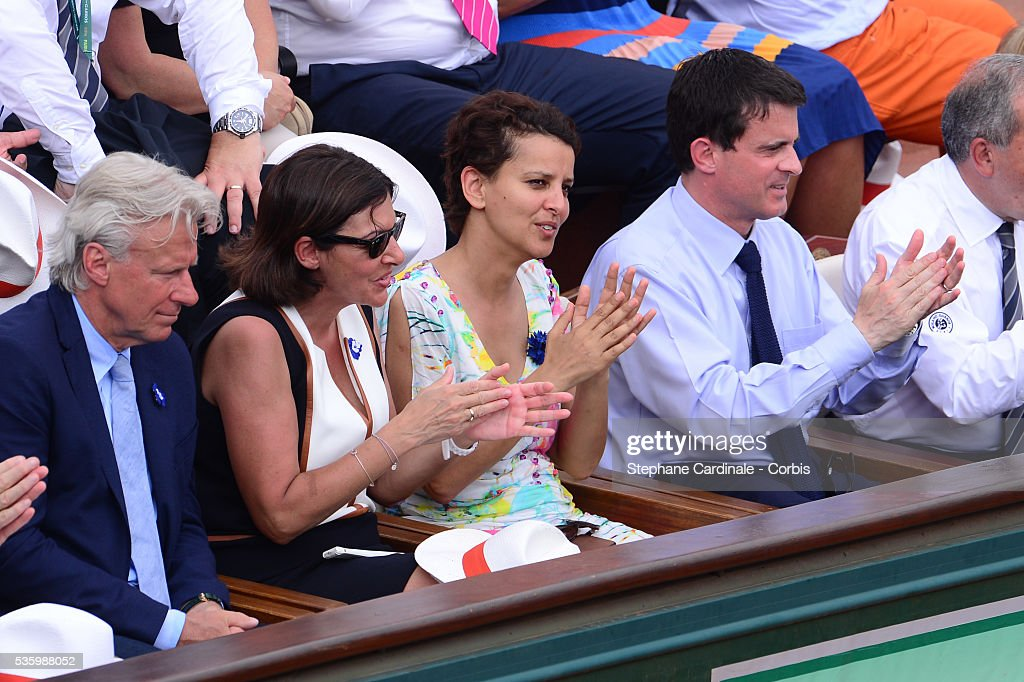 Former Tennis Player Bjorn Borg, Mayor of Paris Anne Hidalgo, Minister of Women's Rights, the City and the Youth and Sports Najat Vallaud-Belkacem and French Prime Minister Manuel Valls attend the Men's Final of Roland Garros French Tennis Open 2014 - Day 15 on June 8, 2014 in Paris