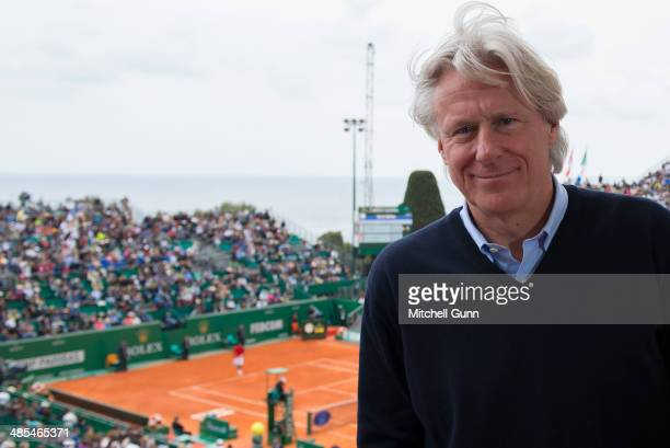 Former tennis player Bjorn Borg on day six of the ATP Monte Carlo Masters at the MonteCarlo Country Club on April 18 2014 in MonteCarlo Monaco