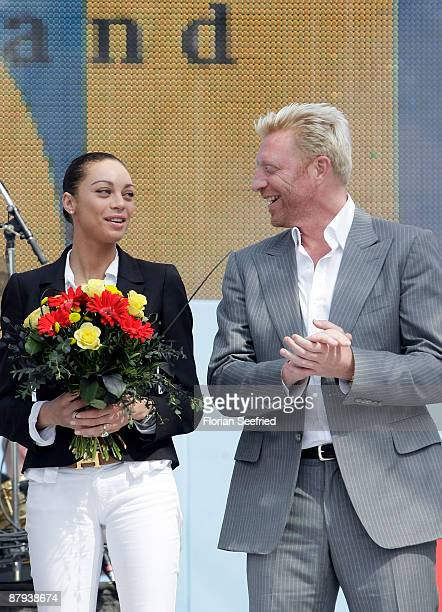 Former tennis player Boris Becker and his girlfriend Sharlely 'Lilly' Kerssenberg attend the celebration of the 60th anniversary of the Federal...