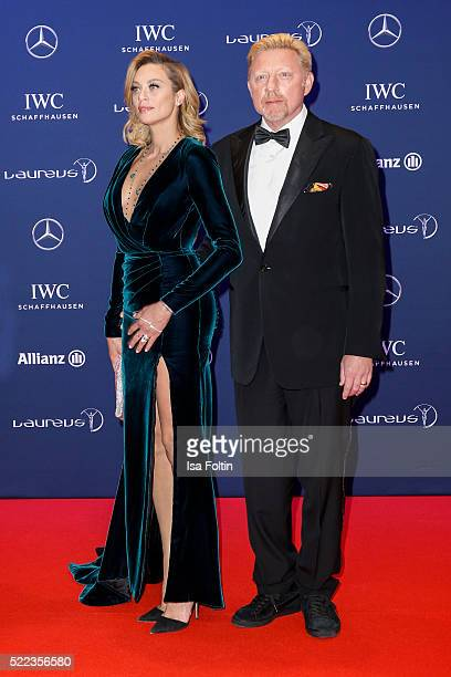 Former tennis player Boris Becker and his wife Lilly Becker attend the Laureus World Sports Awards 2016 on April 18, 2016 in Berlin, Germany.