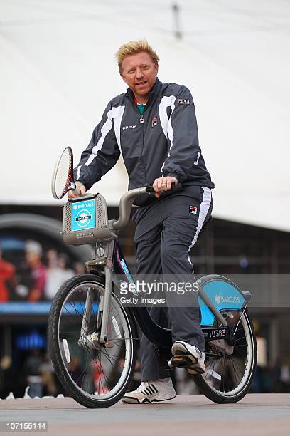 Former tennis player Boris Becker rides around on one of London's Barclays Cycle Hires aslo known as Boris Bikes during the ATP World Tour Finals at...