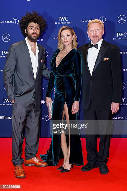 Former tennis player Boris Becker with his wife Lilly Becker and son Noah Becker attend the Laureus World Sports Awards 2016 on April 18 2016 in...