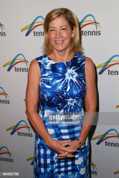Former tennis player Chris Evert arrives at the Legends Lunch during day 13 of the 2014 Australian Open at Melbourne Park on January 25 2014 in...
