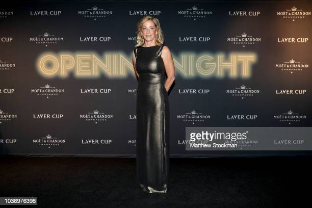 Former tennis player Chris Evert arrives on the Black Carpet during the Laver Cup Gala at the Navy Pier Ballroom on September 20 2018 in Chicago...