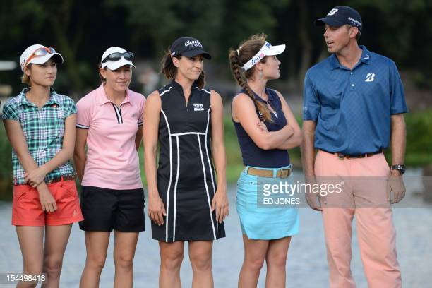 Former tennis player Cindy Lee of Hong Kong golfers Stephanie Louden of the US Paige Mackenzie of the US Liebelei Lawrence of the US and Matt Kuchar...