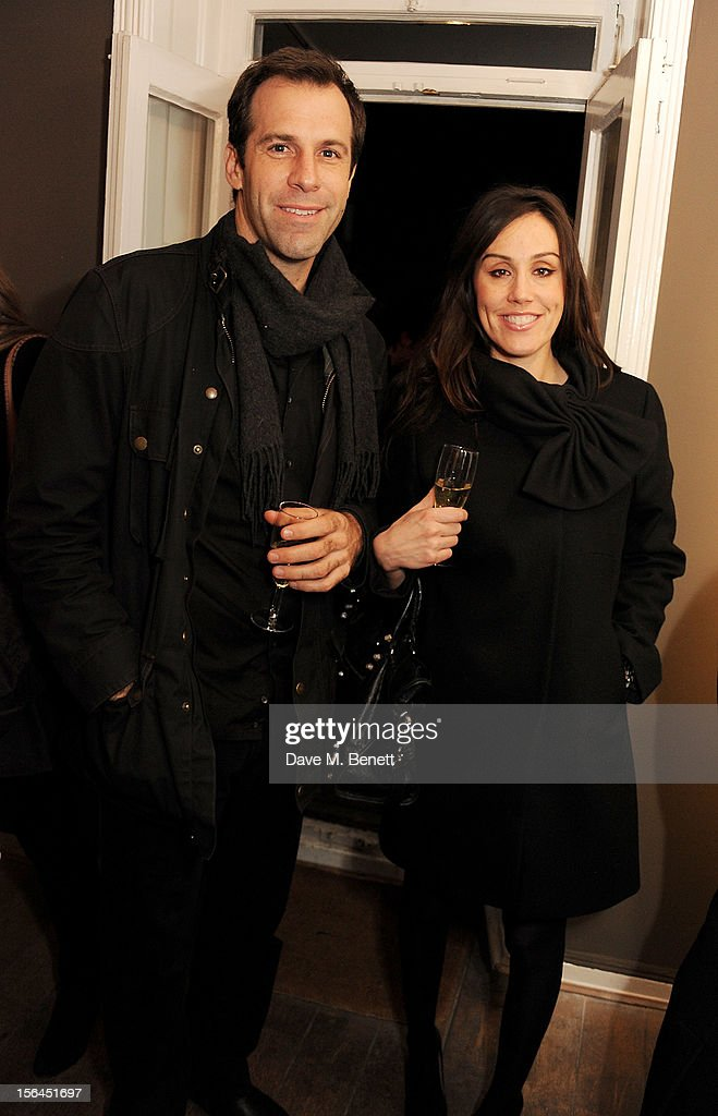 Former tennis player Greg Rusedski (L) and wife Lucy attend a private view of artist Jonathan Yeo's new exhibition 'Some People' on November 15, 2012 in London, England.