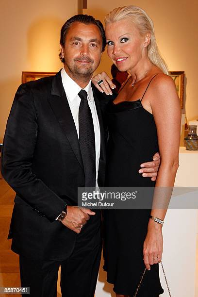 Former tennis player Henri Leconte and his wife Florentine Leconte attend the gala hosted by Lola KarimovaTillyaeva Uzbekistan's representative to...