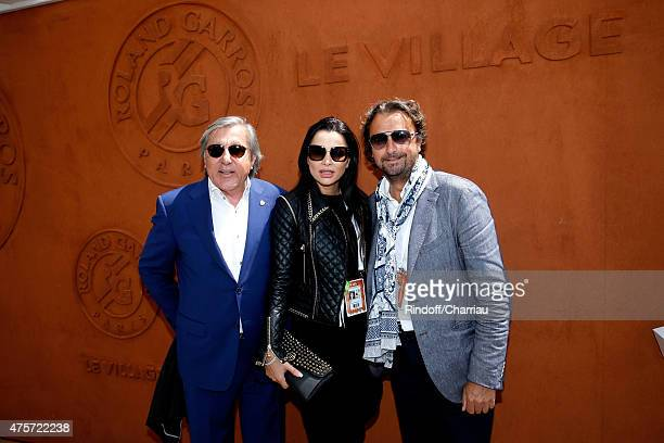 Former tennis player Ilie Nastase with his wife Brigitte and Former Tennis Player Henri Leconte attend the 2015 Roland Garros French Tennis Open Day...