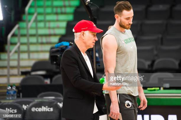 Former tennis player John McEnroe and Gordon Hayward of the Boston Celtics talk prior to exchanging jerseys for Laver Cup 2020 promotion at TD Garden...