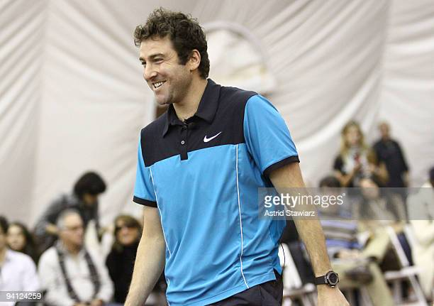 Former tennis player Justin Gimelstob participates in Hublot's Tennis Fusion Celebrity Challenge at Sutton East Tennis Club on December 7 2009 in New...