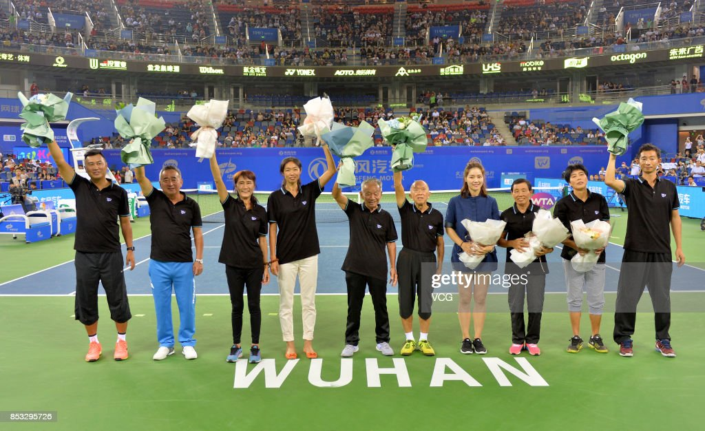 Former tennis player Li Na (R4) attends the opening ceremony of 2017 WTA Wuhan Open at Optics Valley International Tennis Center on September 24, 2017 in Wuhan, China.
