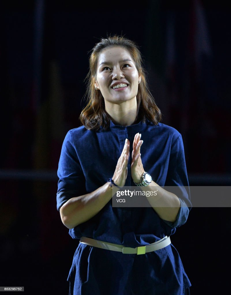 Former tennis player Li Na attends the opening ceremony of 2017 WTA Wuhan Open at Optics Valley International Tennis Center on September 24, 2017 in Wuhan, China.