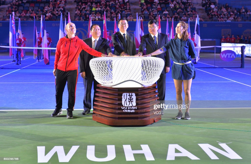 Former tennis player Li Na (R) attends the opening ceremony of 2017 WTA Wuhan Open at Optics Valley International Tennis Center on September 24, 2017 in Wuhan, China.