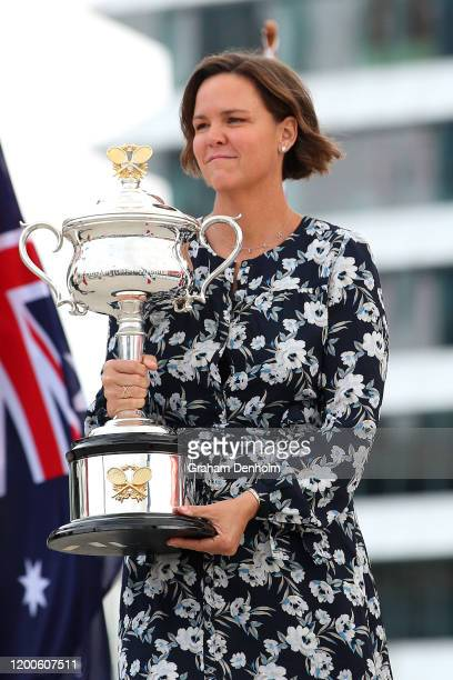 Former tennis player Lindsay Davenport poses with the Daphne Akhurst Memorial Cup at the Australian Open Welcome to Country and trophy arrival...