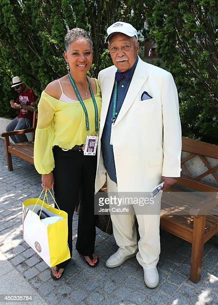 Former tennis player Lori McNeil and former mayor of New York David Dinkins attends the men's final of the French Open 2014 held at RolandGarros...