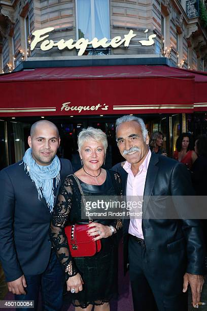 Former tennis player Mansour Bahrami, his wife Frederique and their son Sam attend the Legends of Tennis Dinner. Held at Restaurant Fouquet's whyle...