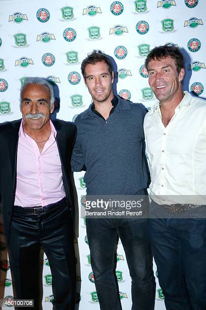 Former tennis player Mansour Bahrami tennis player Richard Gasquet and former tennis player Pat Cash attend the Legends of Tennis Dinner Held at...