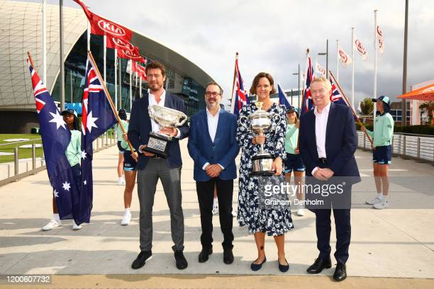 Former tennis player Marat Safin Victorian Minister for Sport Tourism and Major Events The Hon Martin Pakula Lindsay Davenport and Australian Open...