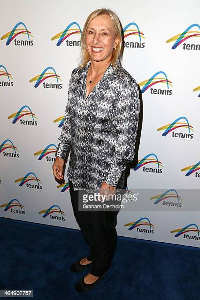 Former tennis player Martina Navratilova arrives at the Legends Lunch during day 13 of the 2014 Australian Open at Melbourne Park on January 25 2014...