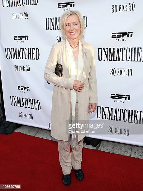 """Former tennis player Martina Navratilova attends the premiere of """"Unmatched"""" at Tribeca Cinemas on August 26, 2010 in New York City."""