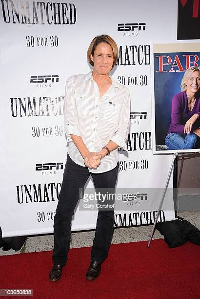 "Former tennis player Mary Carillo attends the premiere of ""Unmatched"" at Tribeca Cinemas on August 26, 2010 in New York City."