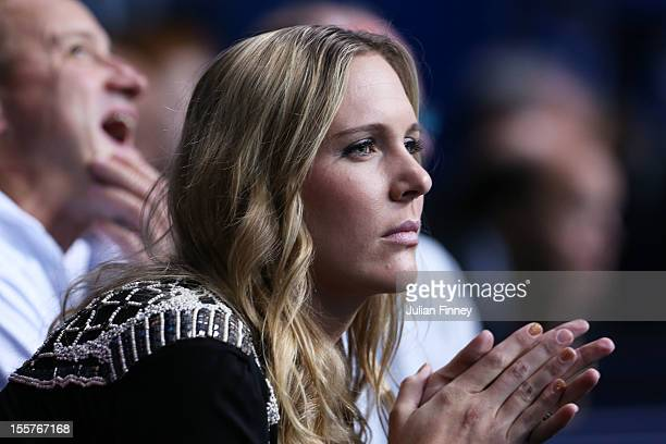 Former tennis player Nicole Vaidisova the wife of Radek Stepanek of Czech Republic watches his men's doubles match against Marcel Granollers of Spain...