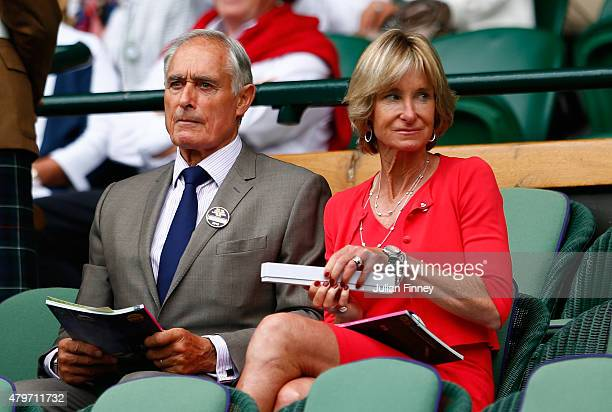 Former tennis player Roger Taylor and his wife Alison Taylor on Centre Court during day seven of the Wimbledon Lawn Tennis Championships at the All...
