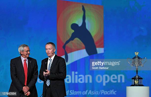 Former tennis player Roy Emerson is interviewed by Craig Tiley Director at Tennis Australia during the launch of the 2012 Australian Open at...