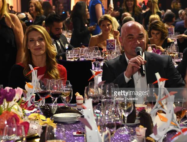 Former tennis player Steffi Graf and former tennis player and Community Achievement Award recipient Andre Agassi attend the 21st annual Keep Memory...