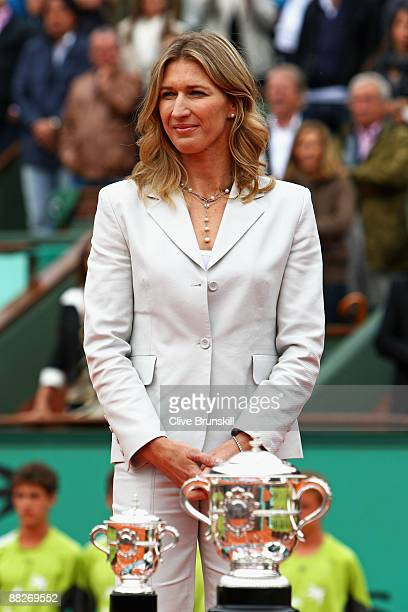 Former tennis player Steffi Graf looks on prior to presenting the trophies following the Women's Singles Final match between Svetlana Kuznetsova of...