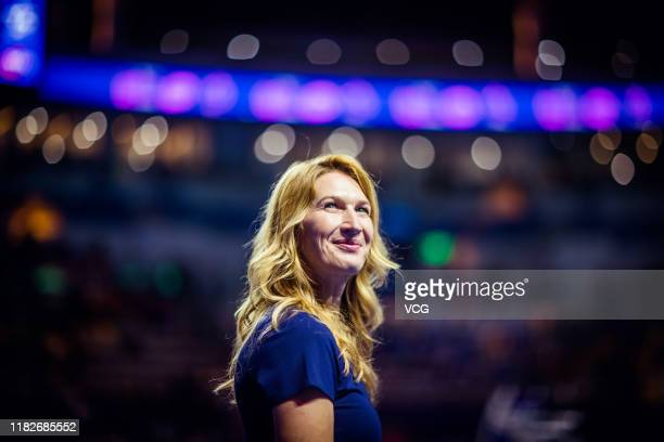 Former tennis player Steffi Graf smiles as she attends opening ceremony on Day one of 2019 WTA Elite Trophy Zhuhai at Zhuhai Hengqin International...